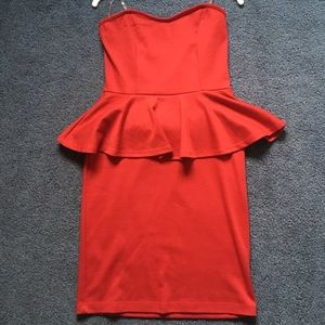 Red peplum bodycon mini dress
